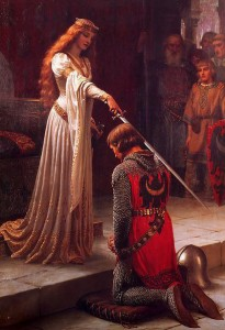 A Queen Knighting a Squire