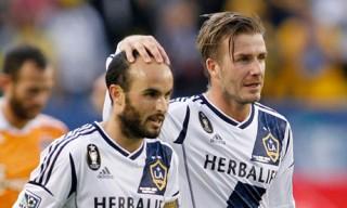 David Backham and Landon Donovan LA Galaxy Teammates