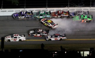 A crash in NASCAR during a restart