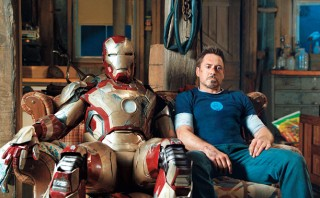 Tony Stark and Iron Man Suit Relax on the Couch