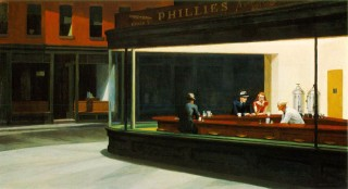 "Edward Hopper's famous 1942 diner painting, ""Nighthawks."""