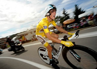 Andy Schleck in Yellow at 2011 Tour de Fance during a Time Trial