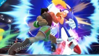 Little Mac uppercuts Sonic in Super Smash Bros
