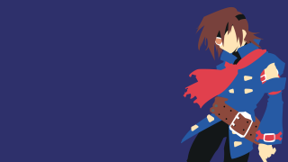 Minimalist Illustration of Blue Rogue Air Pirate Vyse from Skies of Arcadia by Brandon