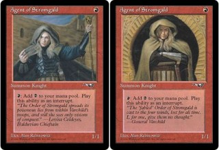 Both Versions of Agent of Stromgald from Alliances