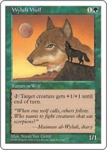 Fifth Edition's Wyluli Wolf originally printed in Arabian Nights