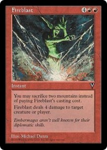 Fireblast a pitch card direct damage spell for Red in Visions