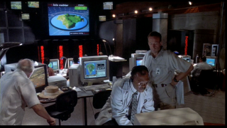 Hammond, Muldoon, Ray and Nedry in the Control Room