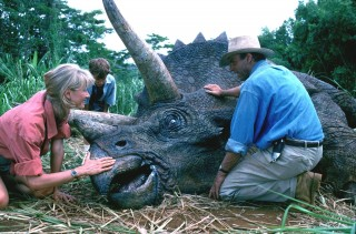Sattler, Tim and Grant with the sick Triceratops