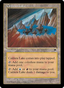 Caldera Lake a Tempest Pain Dual Land for Blue and Red