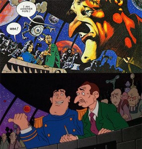 Captain Sternn in Heavy Metal also remains close to the original comic
