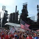 The Bethlehem Viewing Party was in front of the SteelStacks