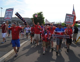 USA fan group The American Outlaws march to the viewing party in Bethlehem