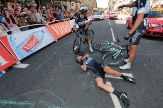 Mark Cavendish did get up to finish the Stage but it would be his last in the 2014 Tour de France