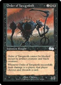 Order of Yawgmoth from Urza's Saga had a built in Fear