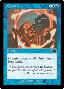 Rewind was close to a Free Counterspell from Urza's Saga