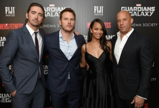 Some of the Guardians of the Galaxy cast Pace, Pratt, Saldana and Diesel