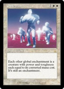 Opalescence from Urza's Destiny turns all Global Enchantments into Creatures