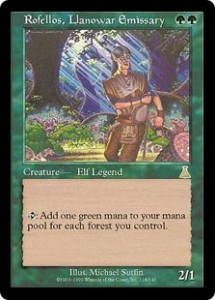 Rofellos, Llanowar Emissary from Urza's Destiny was the first printed Elf Legend in Magic