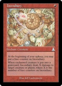The Red Growing Enchanment Incendiary from Urza's Destiny