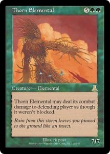 Thorn Elemental from Urza's Destiny had Ultimate Trample