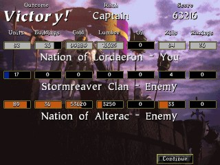 Warcraft II: Tides of Darkness Victory Screen