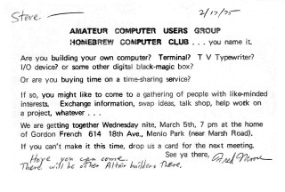 An Invitation to the First Hombrew Computer Club Meeting