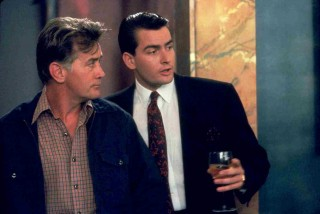 Charlie and Martin Sheen as Bud and Carl Fox in Wall Street
