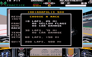 Indianapolis 500 The Simulation Choose a Race