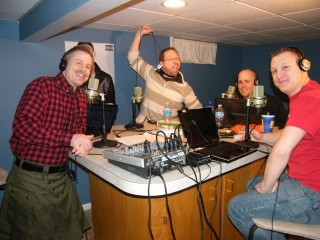 Podcaster Jason The Angry Ginger with is crew