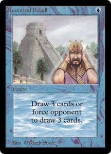 Ancestral Recall of the Magic the Gathering Power Nine