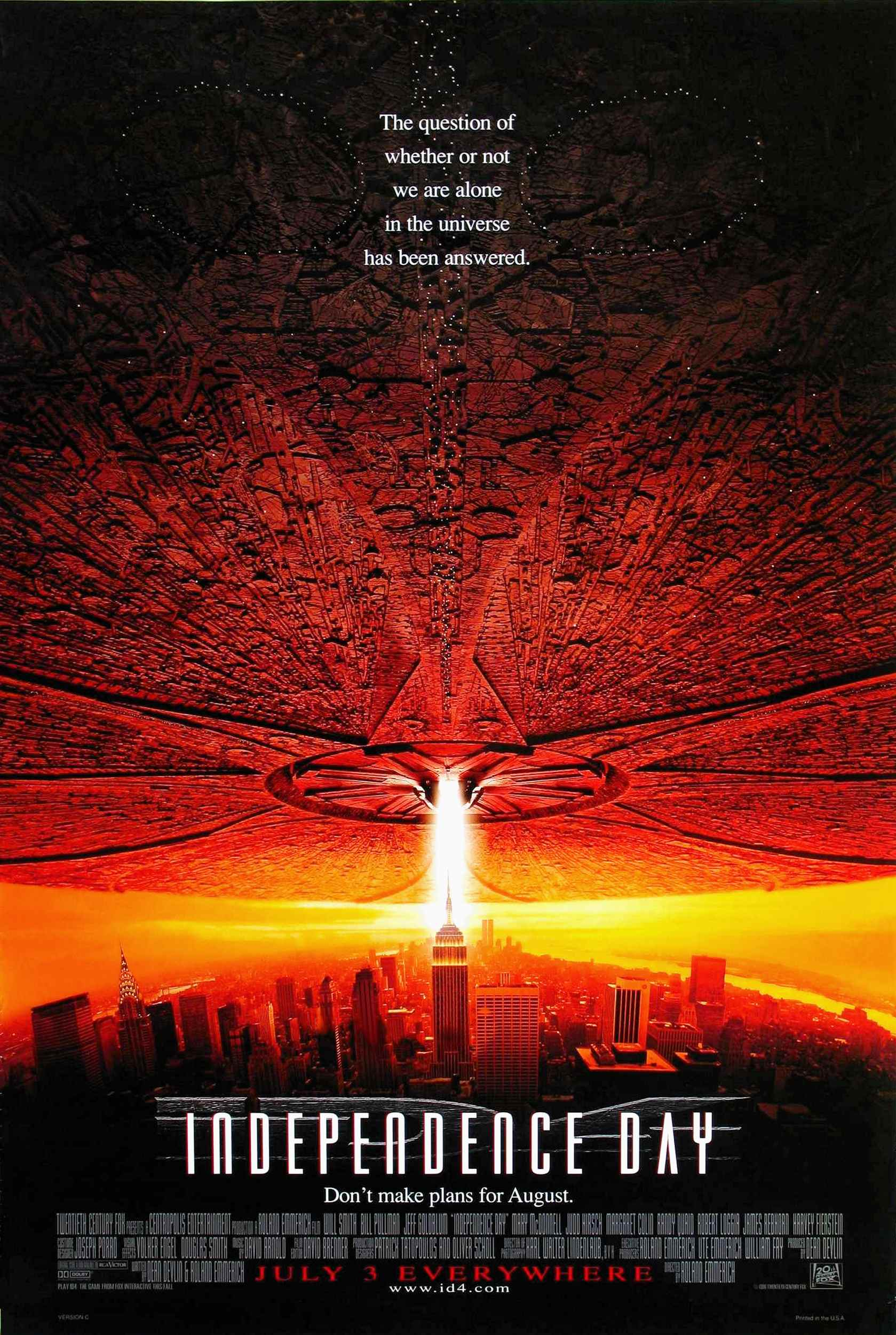 Official Independence Day Movie Poster 1996 ID4