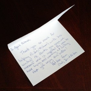 A note for Agent Palmer from Full of Fibre