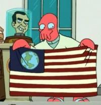 Zoidberg with the Earth Flag Futurama