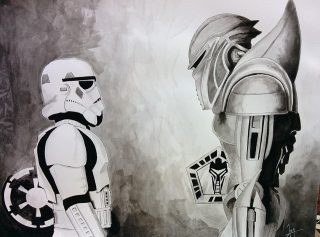 Stormtrooper VS Cylon by JennieLu