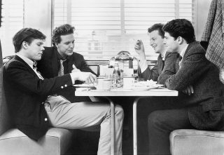 Fenwick, Boog, Shrevie, and Billy at the Diner