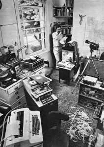 Len Deighton and his IBM word processor, London, 1968.