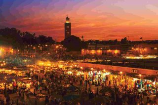 Marrakech at night in Morocco