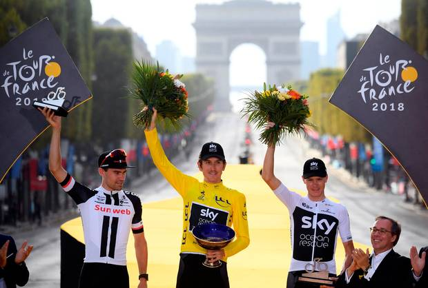 The 2018 Tour de France Podium