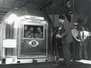 Armstrong, Collins, and Buzz with President Nixon