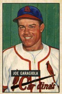 Joe Garagiola Cardinals baseball card
